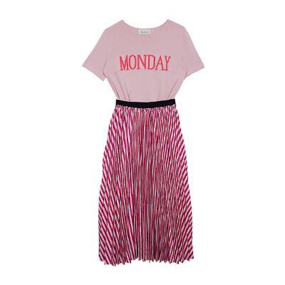 monday knit tee pink & banding stripe skirt